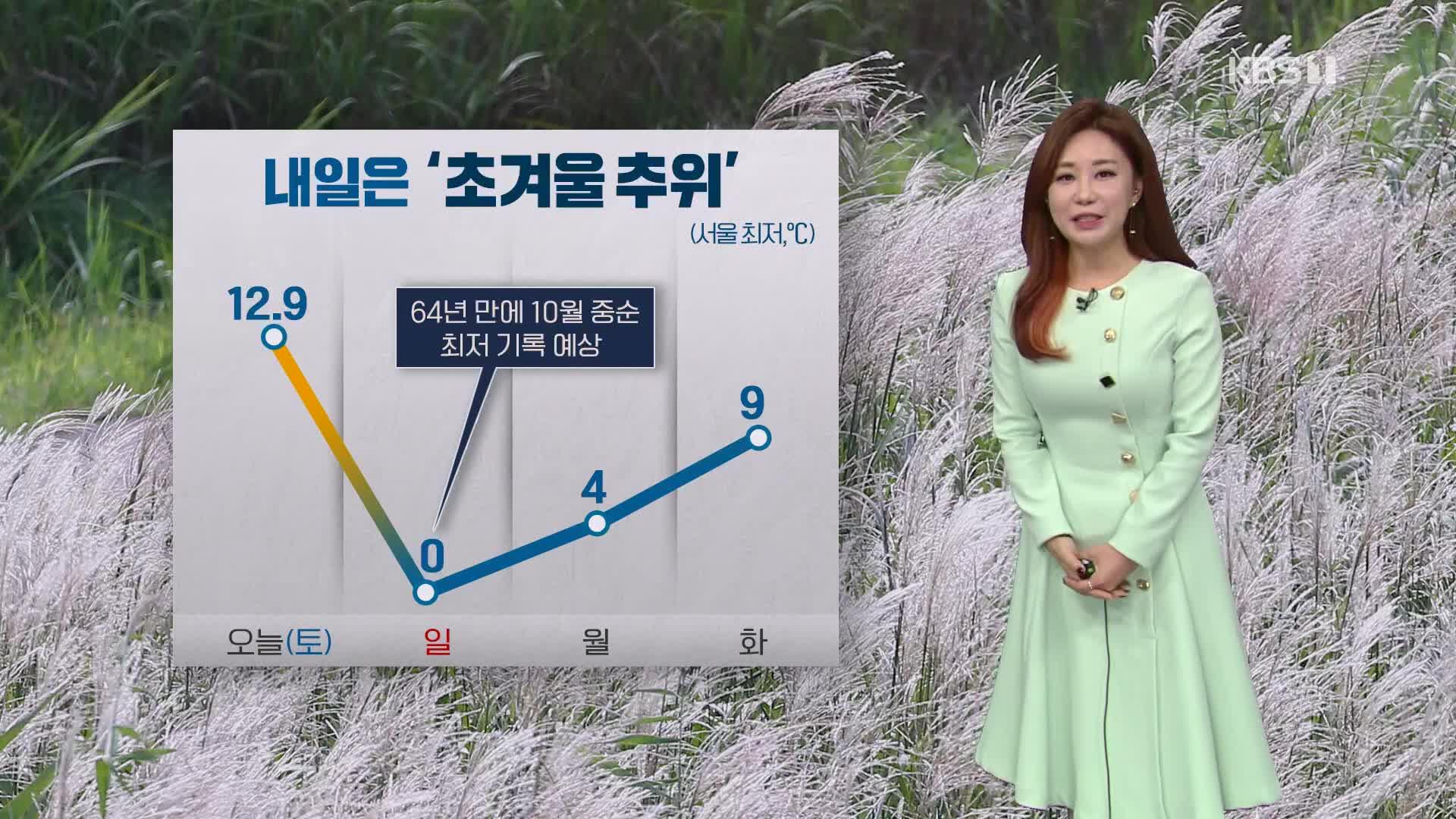 [날씨] 찬 바람 불며 기온 뚝↓…내일 '초겨울 추위'