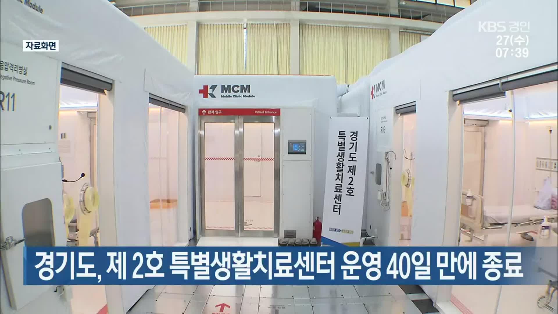 경기도, 제 2호 특별생활치료센터 운영 40일 만에 종료